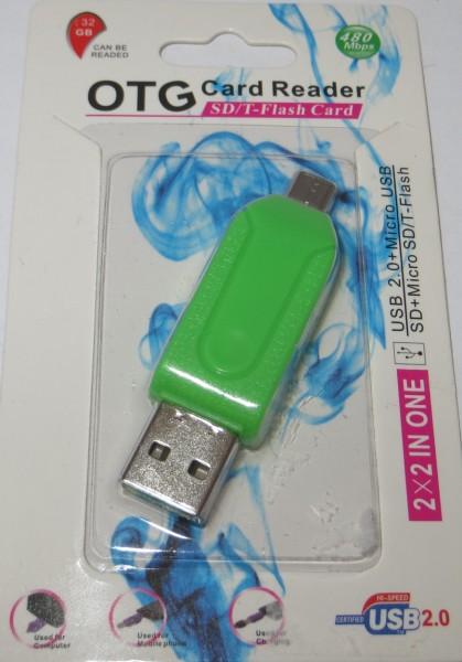 Card Reader für Tablets & Smartphones USB & Micro USB Stecker SD+Micro SD/T-Flash