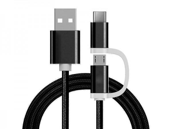 2 in 1 Ladekabel (USB Micro & Type-C) - 1,0 Meter (Schwarz-Nylon)