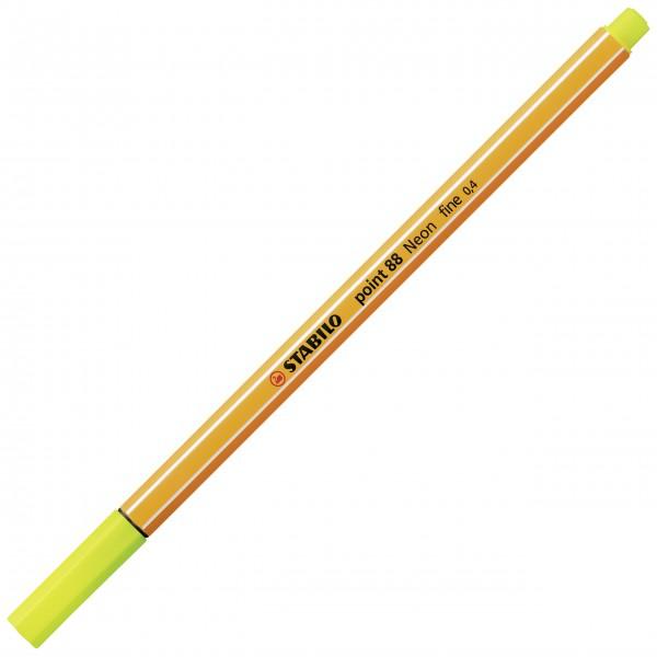 Fineliner - STABILO point 88 - Neonfarbe, leuchtfarbengelb