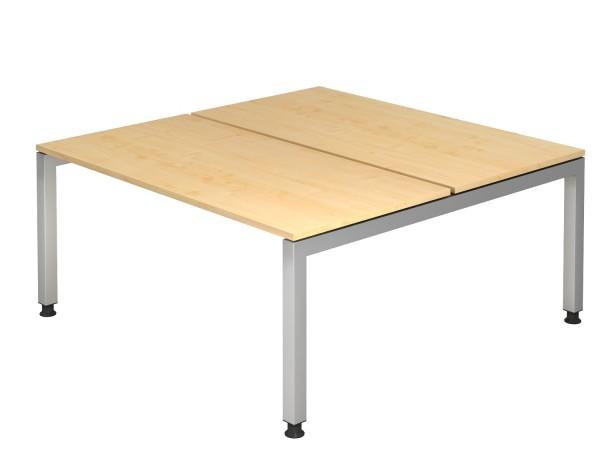 Schreibtischserie Jena-Doppelarbeitsplatz Maße, VFD16,19,/*, Höhe 68cm - 76cm, Gestell silber