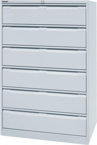 Bisley Karteischrank, dreibahnig, DIN A5, DF6, 6 Schubladen