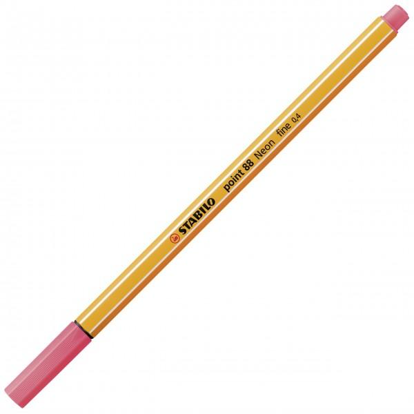 Fineliner - STABILO point 88 - Neonfarbe, leuchtfarbenrot