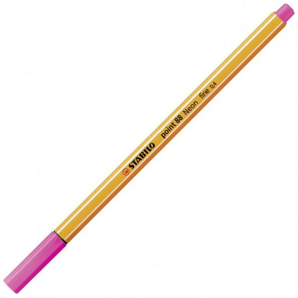 Fineliner - STABILO point 88 - Neonfarbe, leuchtfarbenrosa