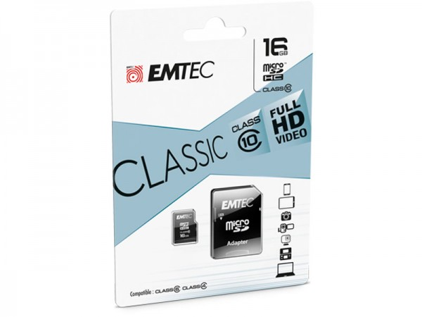 MicroSDHC 16GB EMTEC + Adapter CL10 Blister