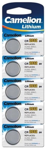 Camelion Lithium Knopfzelle CR2032 3 V, 20 x 3,2mm, 5er Blister