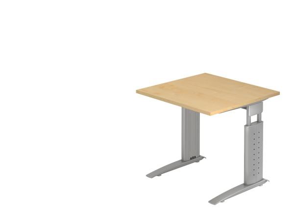 Schreibtischserie Ulm alle Maße, VUS08 bis VUS21, Höhe 68cm - 86cm, Gestell silber,weiß